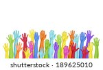 colorful hands raised on white... | Shutterstock . vector #189625010