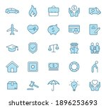 insurance flat vector icons in...