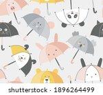 animalistic umbrella with cute... | Shutterstock .eps vector #1896264499