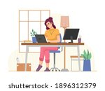 workplace of freelancer woman... | Shutterstock .eps vector #1896312379