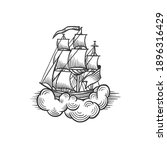 a ship. can be used as a sketch ... | Shutterstock .eps vector #1896316429