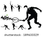 tennis players silhouettes... | Shutterstock .eps vector #189633329