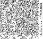cartoon raster doodles disco...   Shutterstock . vector #1896334090