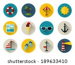 set of 12 round icons with long ... | Shutterstock .eps vector #189633410