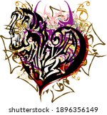 decorative heart colorful... | Shutterstock .eps vector #1896356149