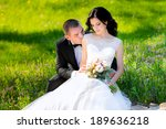 young wedding couple walking on ... | Shutterstock . vector #189636218