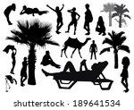 set of beach silhouettes