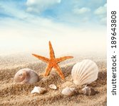 sea shells on the sand against... | Shutterstock . vector #189643808