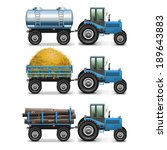 Vector Agricultural Tractor Set ...