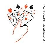 poker cards in hand. casino... | Shutterstock .eps vector #1896441973