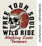 skull with racer helmet tattoo... | Shutterstock .eps vector #1896448606