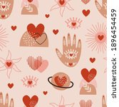 seamless pattern with love boho ... | Shutterstock .eps vector #1896454459