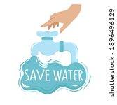 human hand   water tap  splash... | Shutterstock .eps vector #1896496129