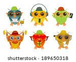 hipster owl in different poses... | Shutterstock .eps vector #189650318