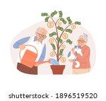 elderly couple watering potted... | Shutterstock .eps vector #1896519520
