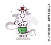hookah with smoke stylized flat ...   Shutterstock .eps vector #1896538726
