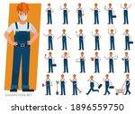 set of builder man wear blue... | Shutterstock .eps vector #1896559750