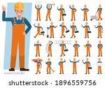 set of builder man wear orange... | Shutterstock .eps vector #1896559756