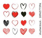 red heart valentine symbol set. ... | Shutterstock .eps vector #1896577396