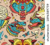 wolves colorful pattern. dark... | Shutterstock .eps vector #1896589759