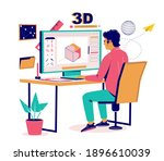 3d modeler  artist creating... | Shutterstock .eps vector #1896610039
