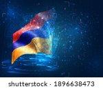 armenia  vector 3d flag on blue ...   Shutterstock .eps vector #1896638473