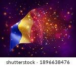 romania  vector 3d flag on pink ...   Shutterstock .eps vector #1896638476