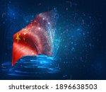 china  vector 3d flag on blue...   Shutterstock .eps vector #1896638503