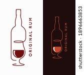 rum bottle banner. glass of rum ... | Shutterstock .eps vector #1896663853