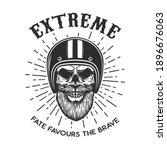 bearded skull in racer helmet.... | Shutterstock .eps vector #1896676063