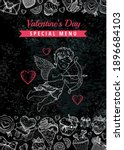 valentine day menu. dinner... | Shutterstock .eps vector #1896684103
