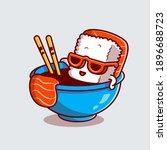 cute sushi salmon in the shoyu... | Shutterstock .eps vector #1896688723