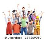 group of happy workers people... | Shutterstock . vector #189669050
