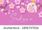sakura blossom and moon. cute... | Shutterstock .eps vector #1896737026