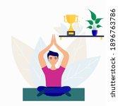 man doing yoga pose on mat.... | Shutterstock .eps vector #1896763786