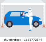 drive thru covid 19 swab test | Shutterstock .eps vector #1896772849
