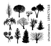 set of silhouettes of trees... | Shutterstock .eps vector #189677618