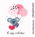 cute koala bear flies on... | Shutterstock .eps vector #1896805300