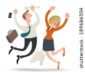 businessman and team jumping... | Shutterstock .eps vector #189686504