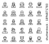 outline icons for professions ... | Shutterstock . vector #1896871783