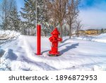 Vibrant Red Fire Hydrant And...
