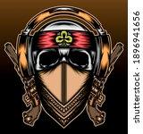 gangster skull with headphone.... | Shutterstock .eps vector #1896941656