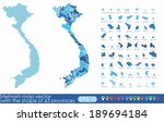 vietnam map vector with the shape of 63 provinces  - stock vector