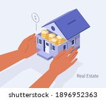 character hands holding home... | Shutterstock .eps vector #1896952363