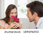 happy young woman looking at... | Shutterstock . vector #189696053