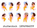 pregnant sleeping poses. woman... | Shutterstock .eps vector #1896986059