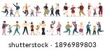 happy dancing families. parents ... | Shutterstock .eps vector #1896989803