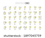 cocktails. collection of... | Shutterstock .eps vector #1897045759