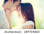 happy smiling couple in love | Shutterstock . vector #189705860