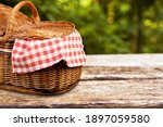 Picnic Basket With A Tablecloth ...